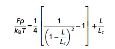 The WLC equation, in which L denotes the end-to-end distance , the contour or total length (Lc)  and the persistence length (p)