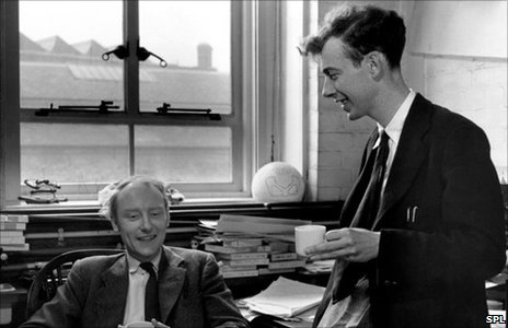 Crick and Watson drinking copius amounts of tea