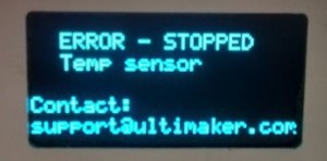 The Ultimaker 2 temperature error
